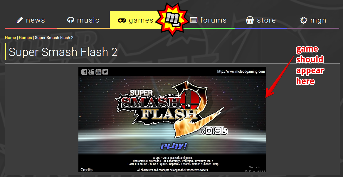 Screenshot of SSF2 on Games Page